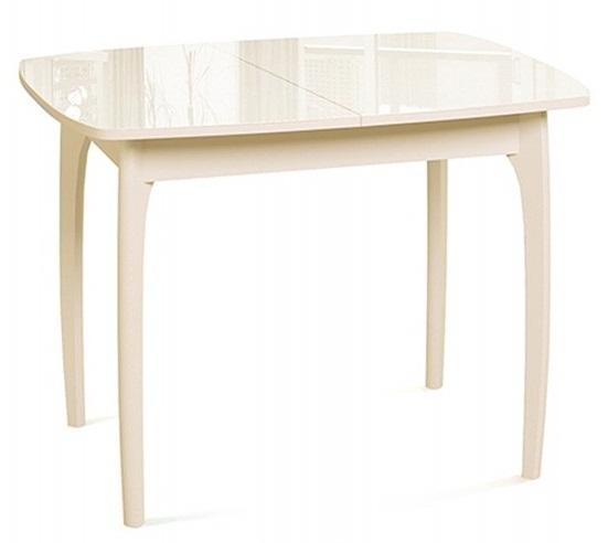 Стол обеденный стеклянный, слоновая кость, раздвижной (арт. М4278)