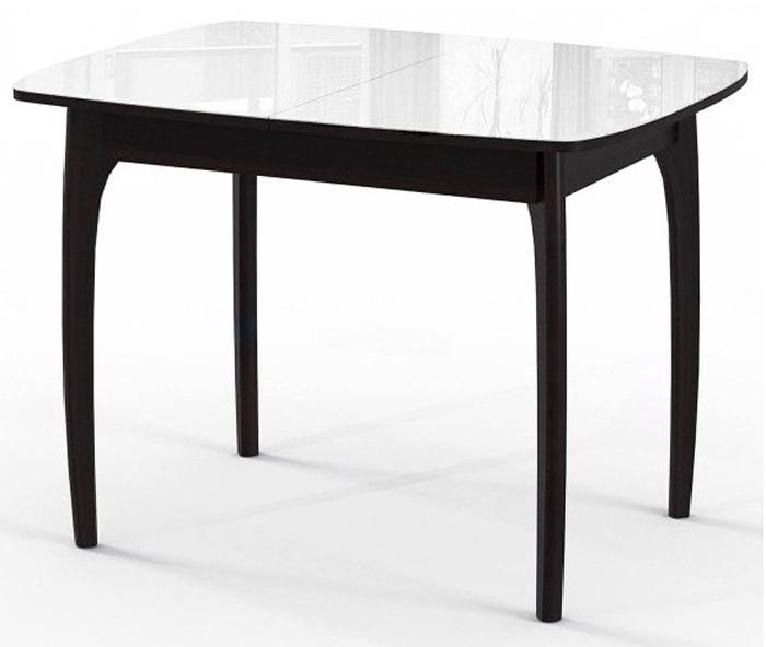 Современный и практичный стол, сочетание стекла и дерева 105 см. (арт. М4291)
