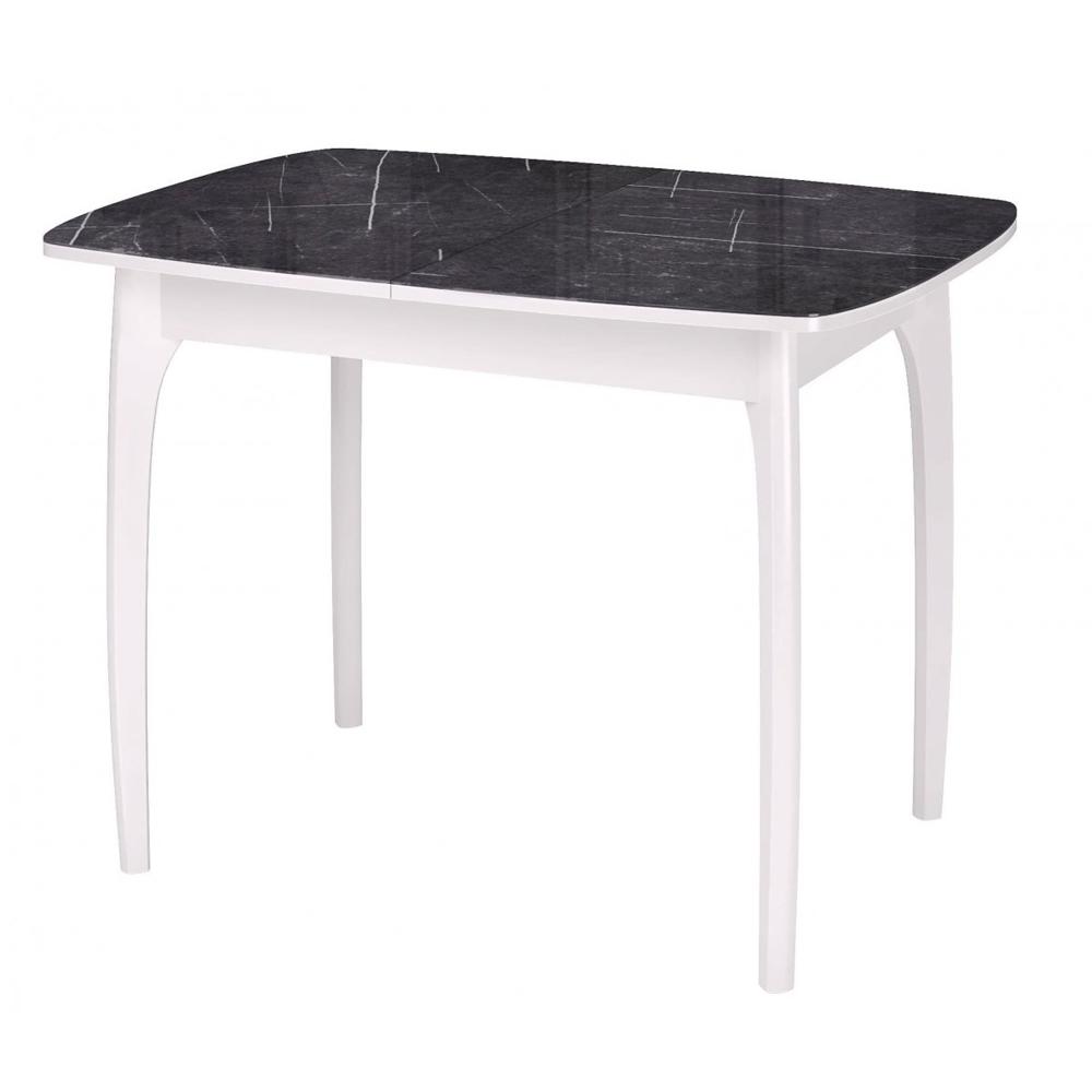Стеклянный обеденный стол, черный мрамор, массив бука (арт. М4540)