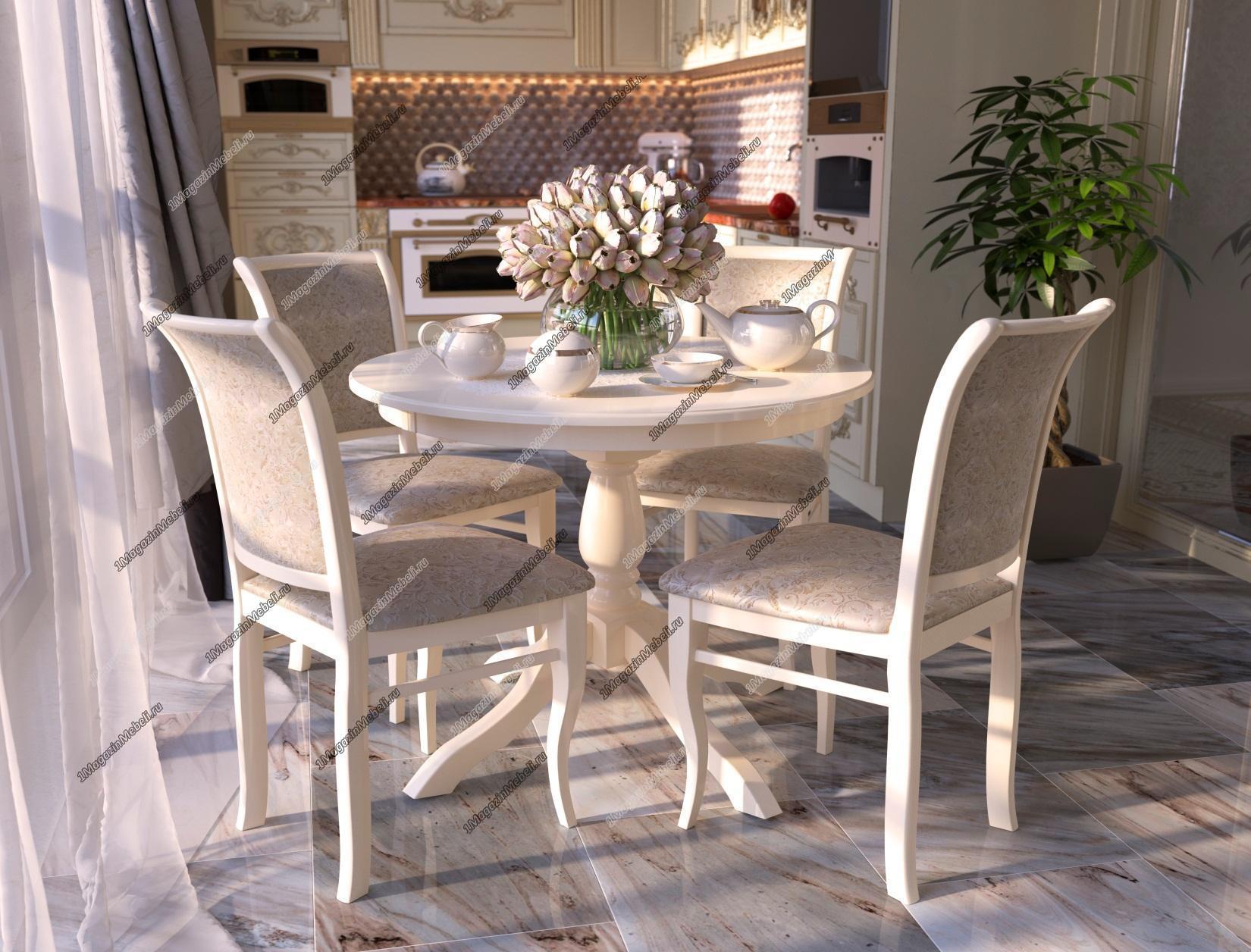 Стол круглый 85 см. слоновая кость для кухни, шпон дуба (арт. М4245)
