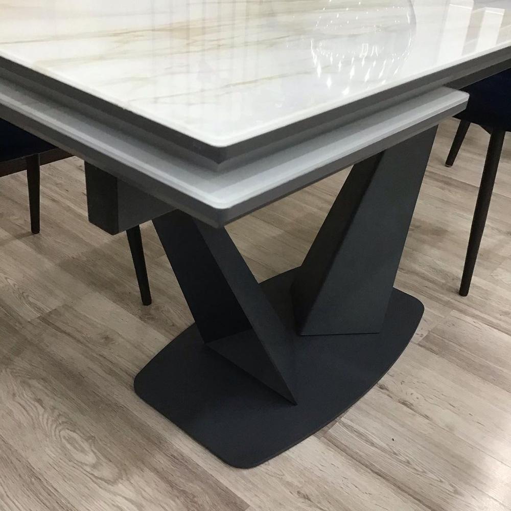 Большой обеденный стол, стекло с принтом под мрамор (арт. М4532)