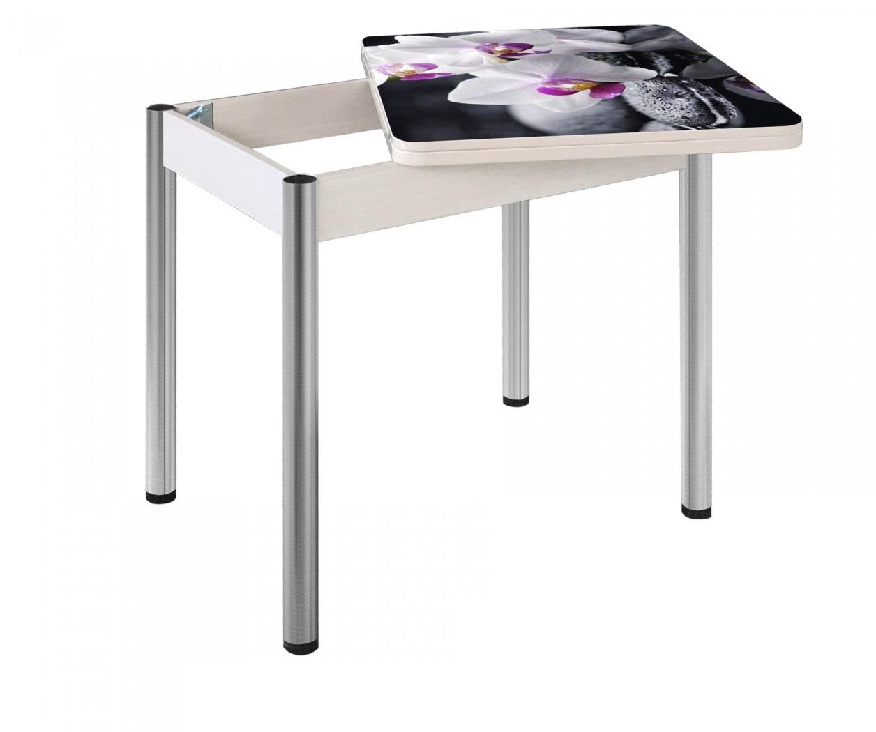 Стол стеклянный обеденный для маленькой кухни 80х60 см. раздвижной (арт. М4233)