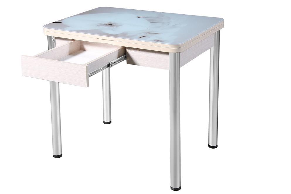Маленький стеклянный обеденный стол 80х60 см. с ящиком и фотопечатью (арт. М4283)