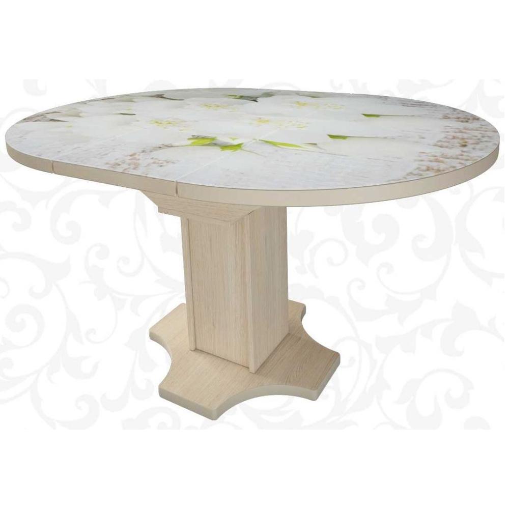 Стол с фотопечатью круглый стеклянный раздвижной 100 см. (арт. М4425)