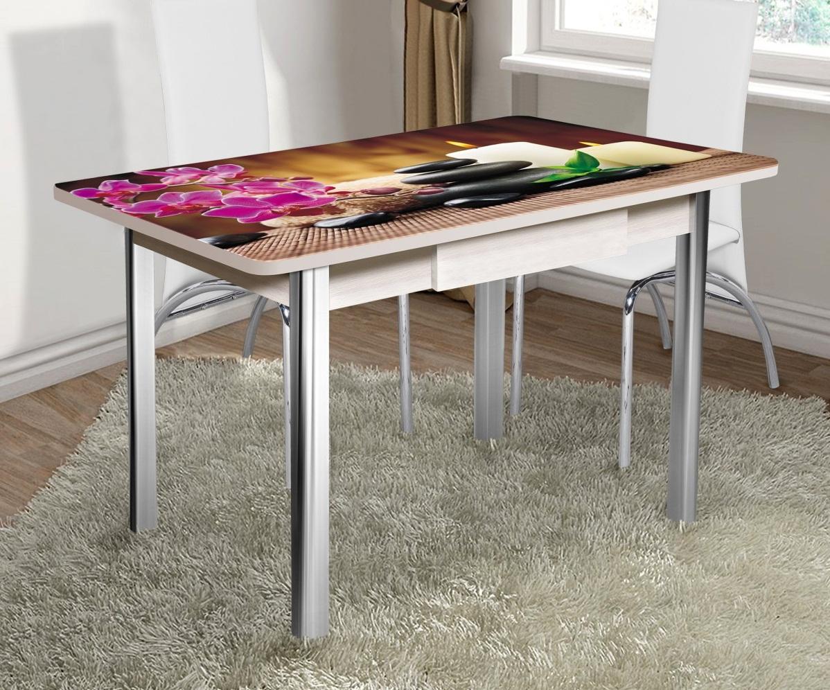 Стеклянный кухонный стол с фотопечатью с ящиком 120х80 (арт. М4304)
