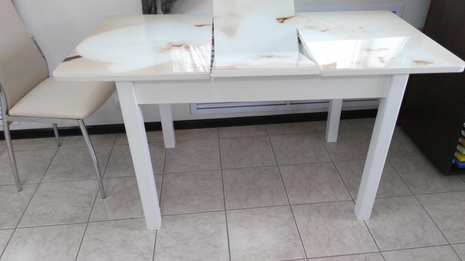 Стол стеклянный 120 см. прямоугольный, кухонный, фотопечать (арт.М4200)