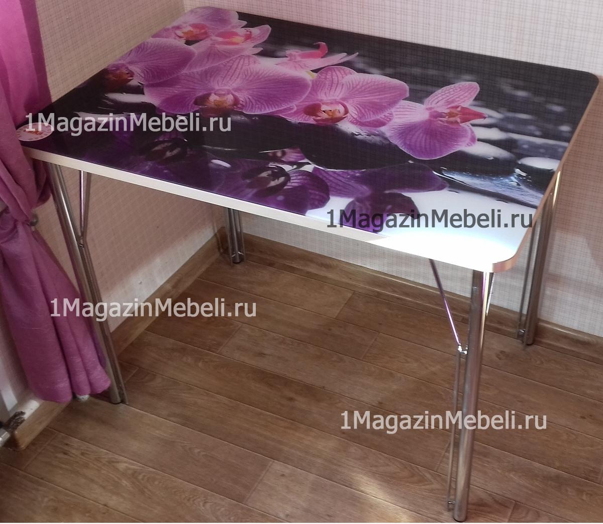 Стол стеклянный не раздвижной 120 см. с фотопечатью и прямыми ножками (арт. М4319)