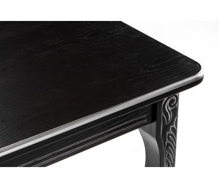 Стол Каллисто черный патина серебро, обеденный деревянный раздвижной (арт. М4422)