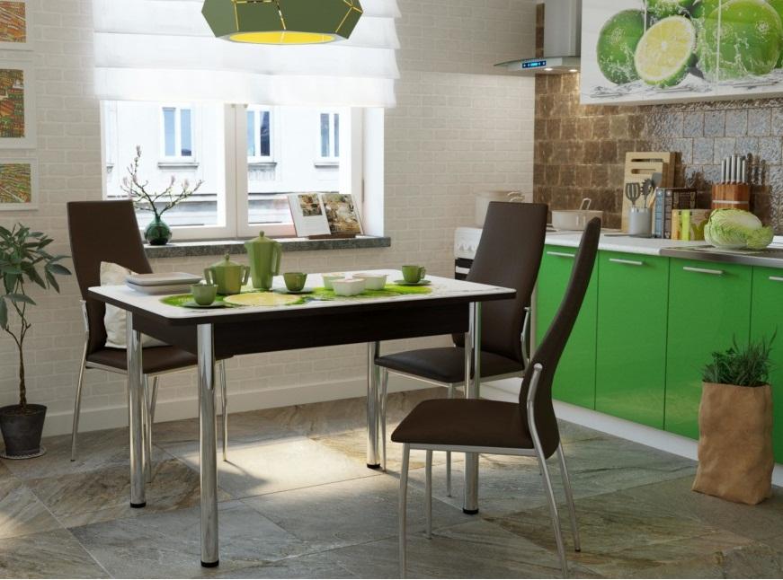 Современный и надежный раздвижной стеклянный стол, 100х70,120х80 см. (арт. М4306)