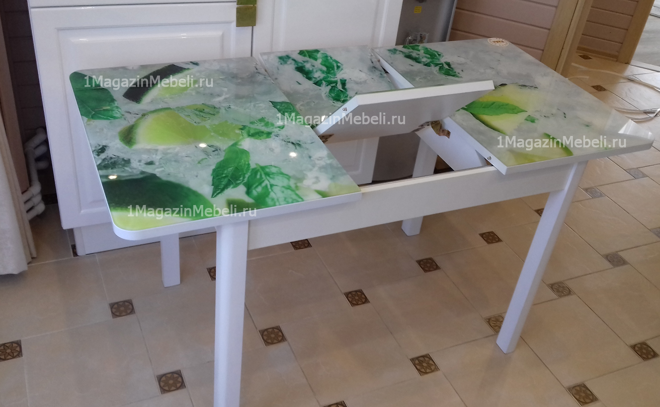 Стол обеденный с фотопечатью стеклянный 100-135х70 см. раздвижной (арт. М4311)