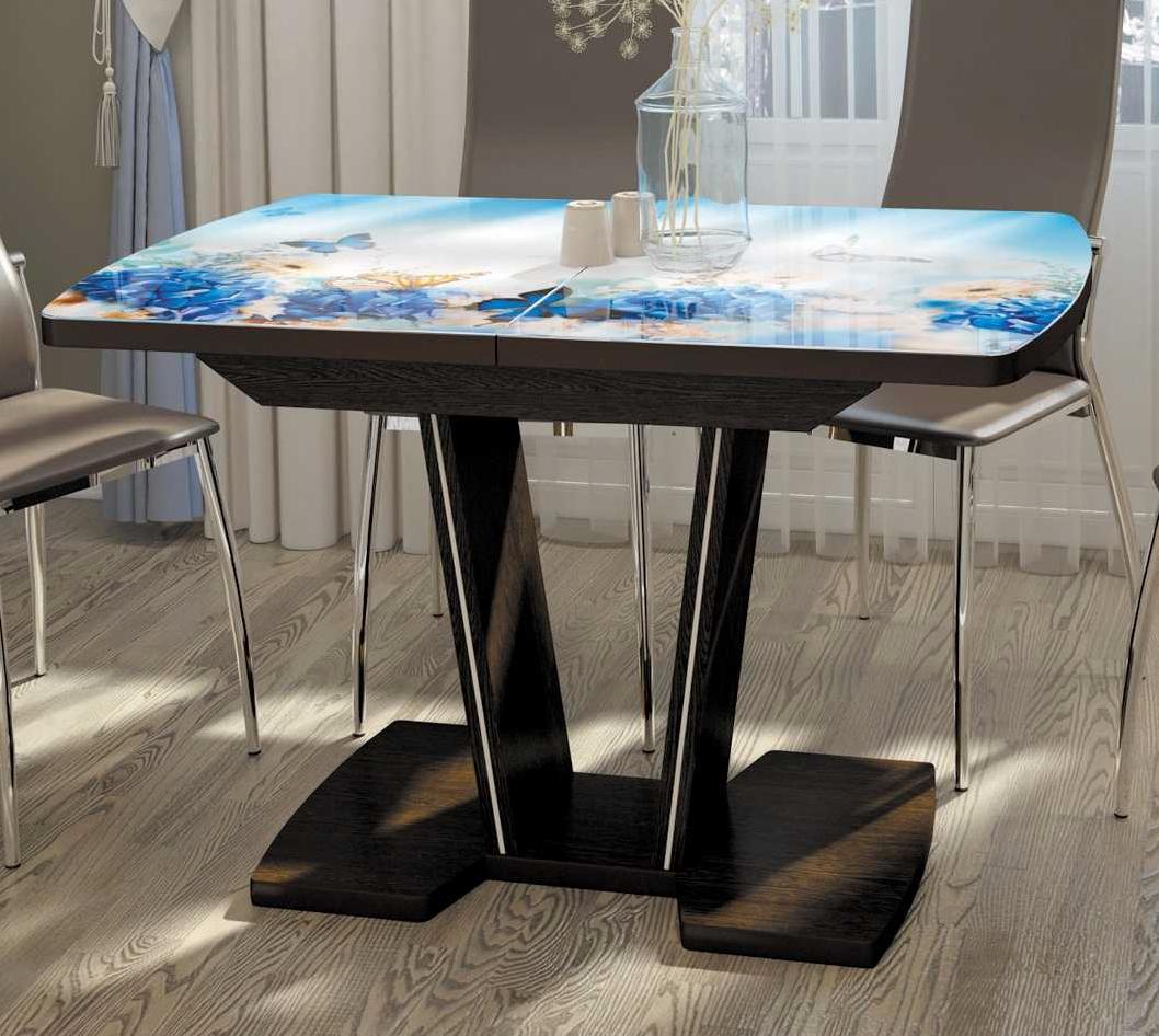 Стол кухонный с V-образной ножкой, стеклянный раздвижной 110х70 или 120х80 (арт. М4429)