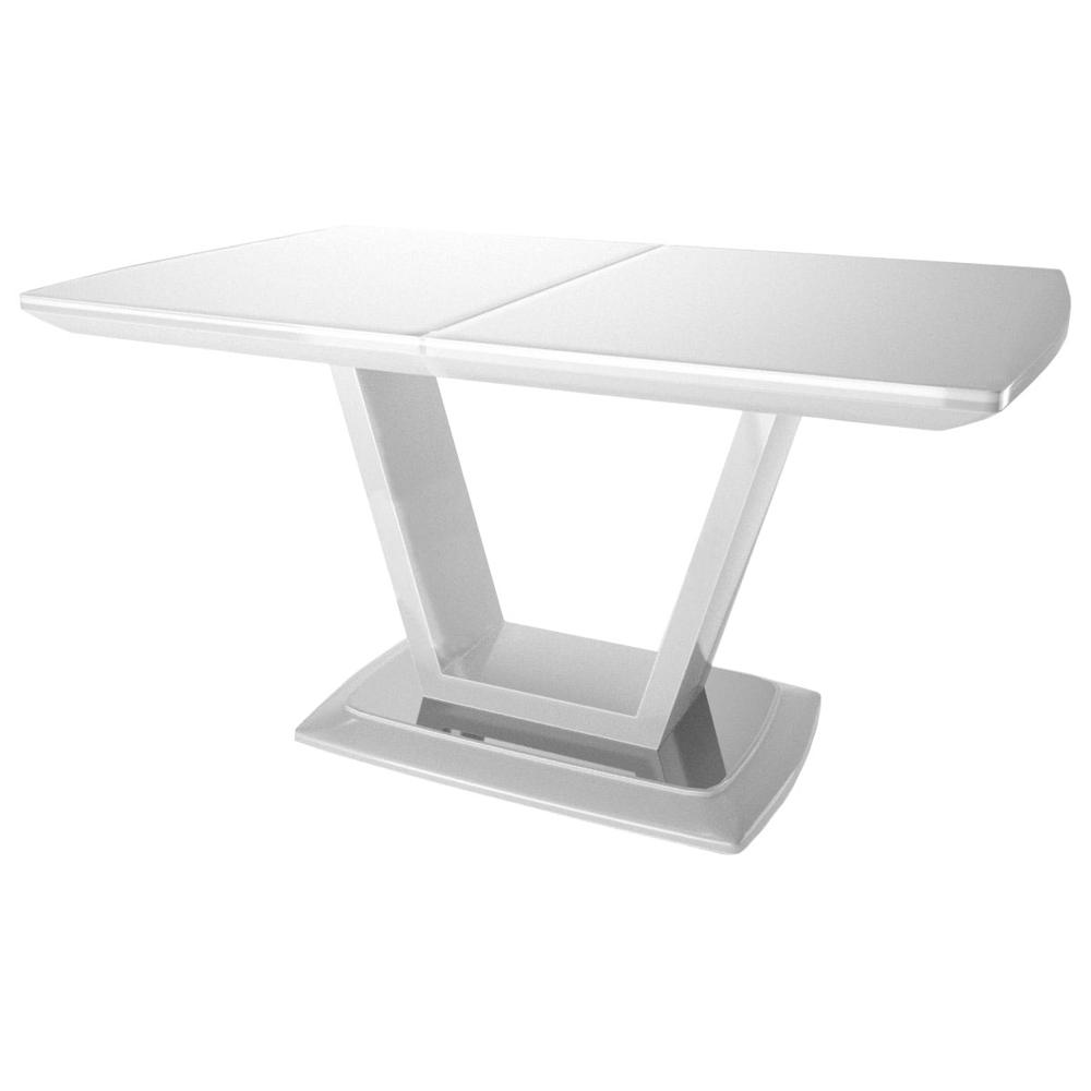 Стол стеклянный 140(180)х80 см. оптивайт белый (арт. М4496)