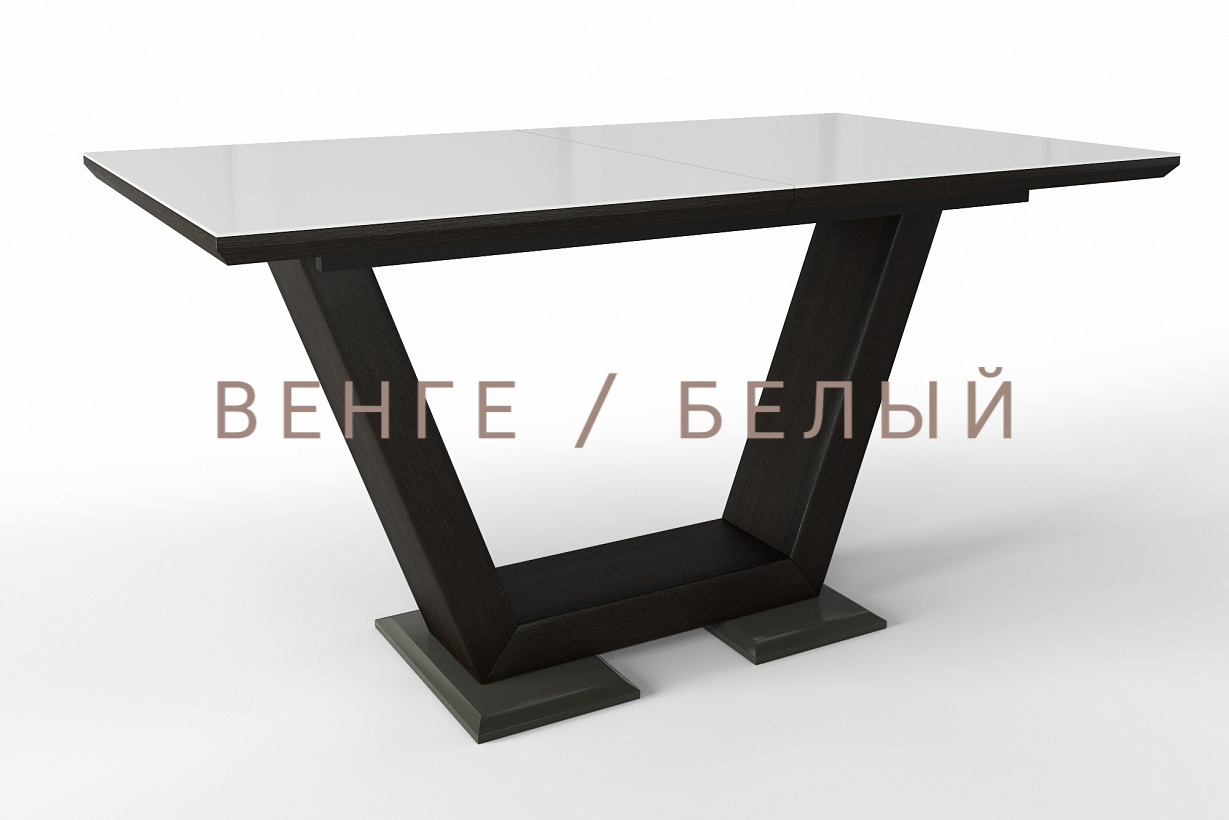 Стол белый Виктория раздвижной стеклянный (арт. М4376)