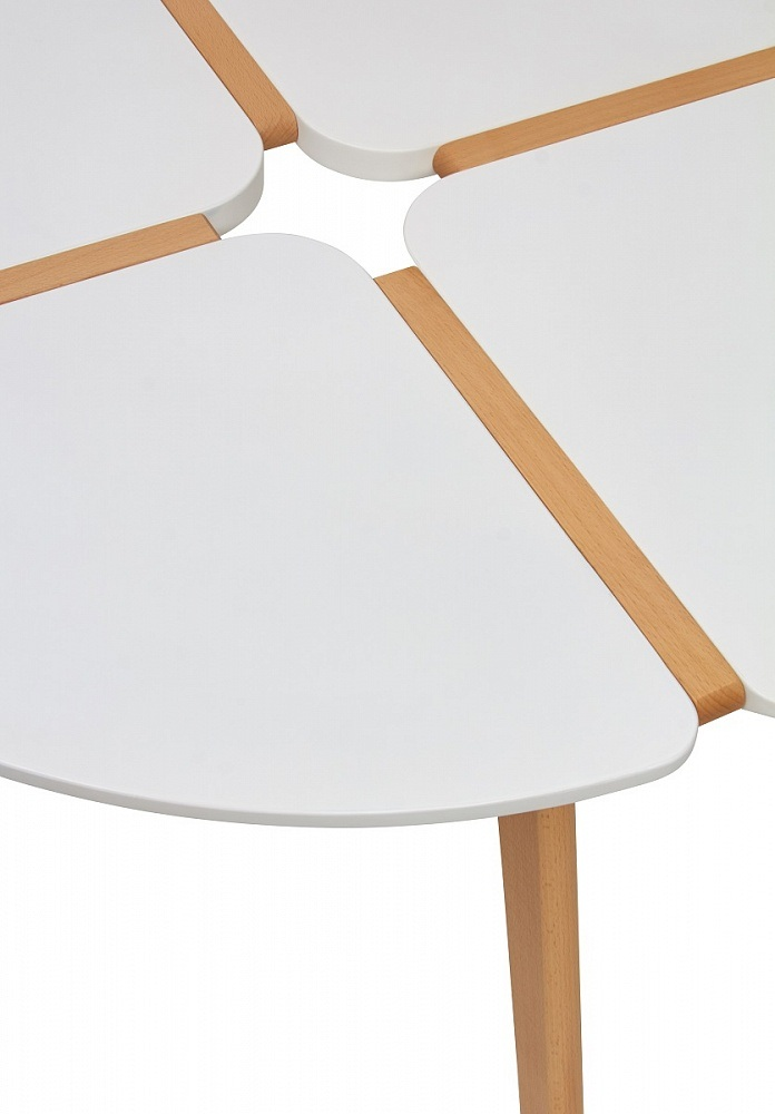 Стол Жасмин круглый обеденный 90 см., белый/орех (арт. М4451)