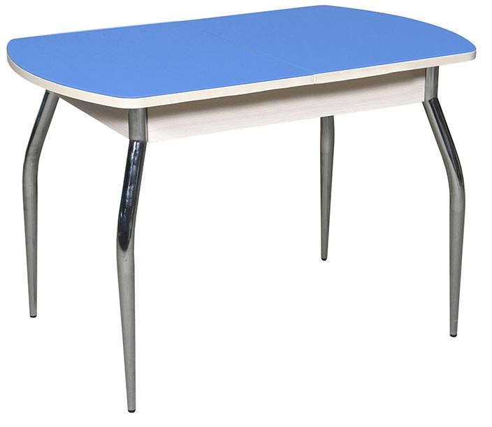 Стол для кухни цвет голубой 110 см., стеклянный овальный раздвижной (арт. М4228)