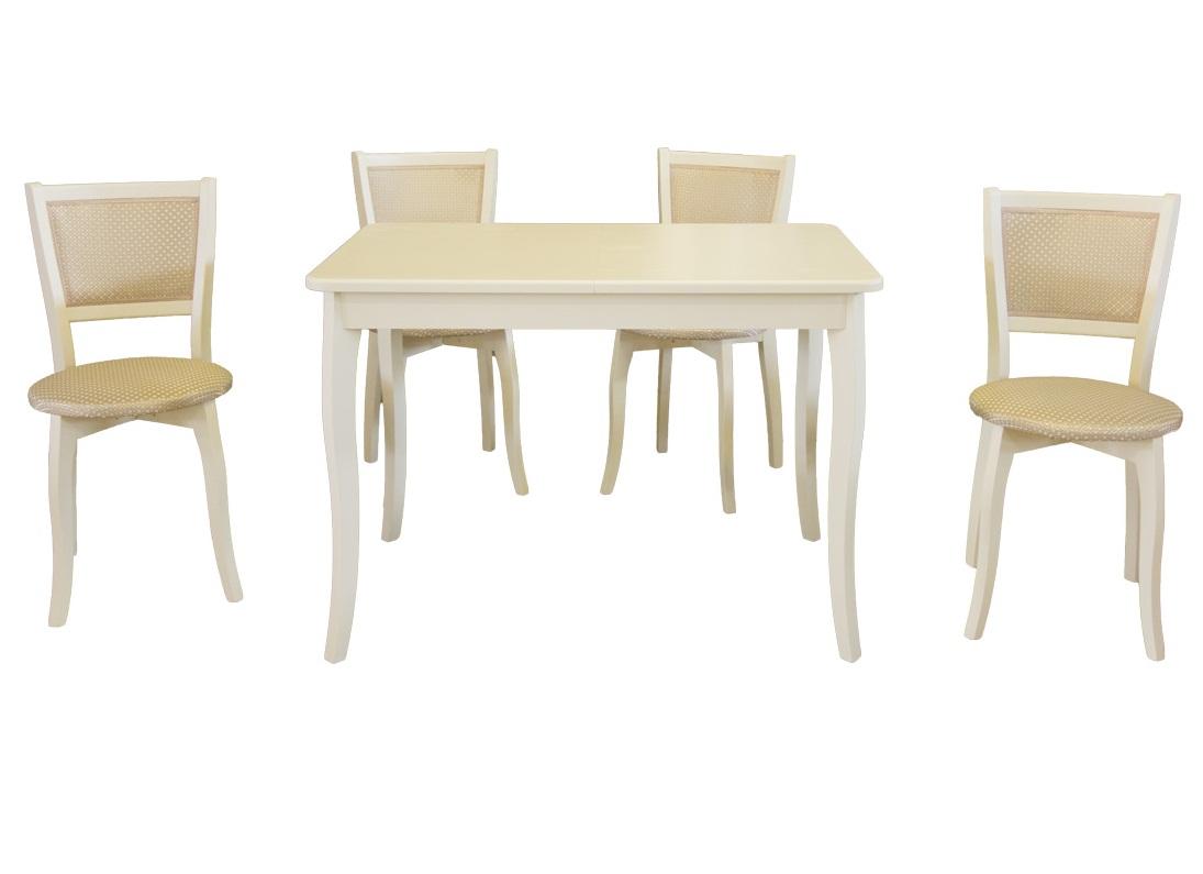 Стол и 4 стула для кухни из дерева слоновая кость (арт. М5000)