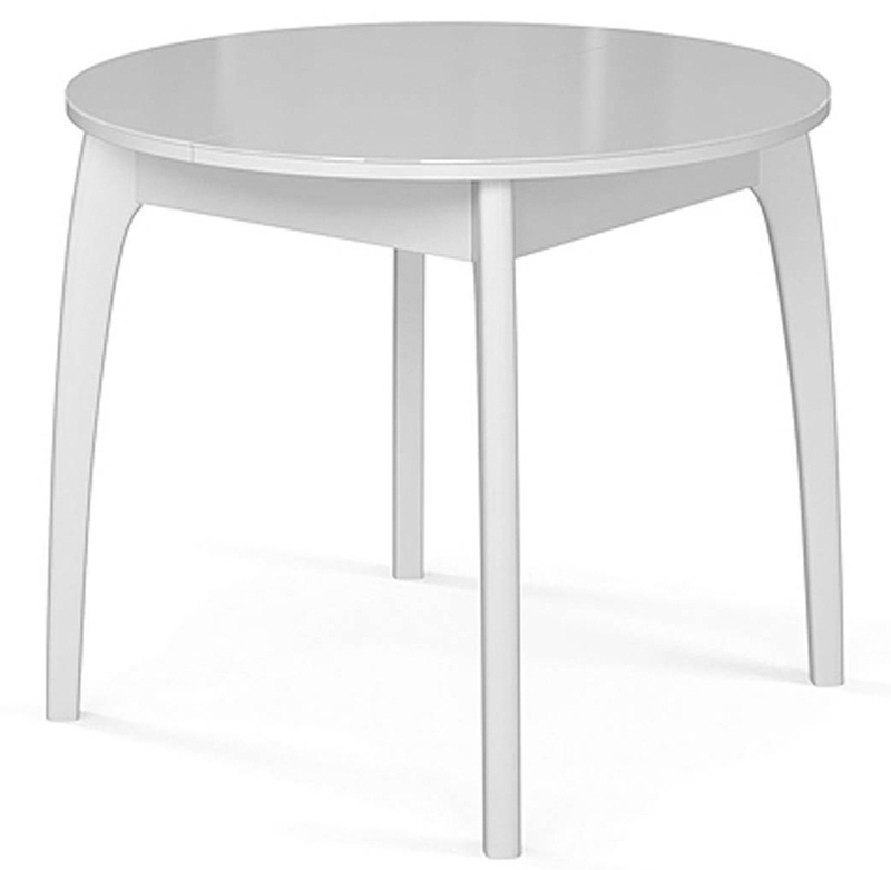 Круглый кухонный стол 90 см. белый раздвижной стекло+дерево (арт. М4269)