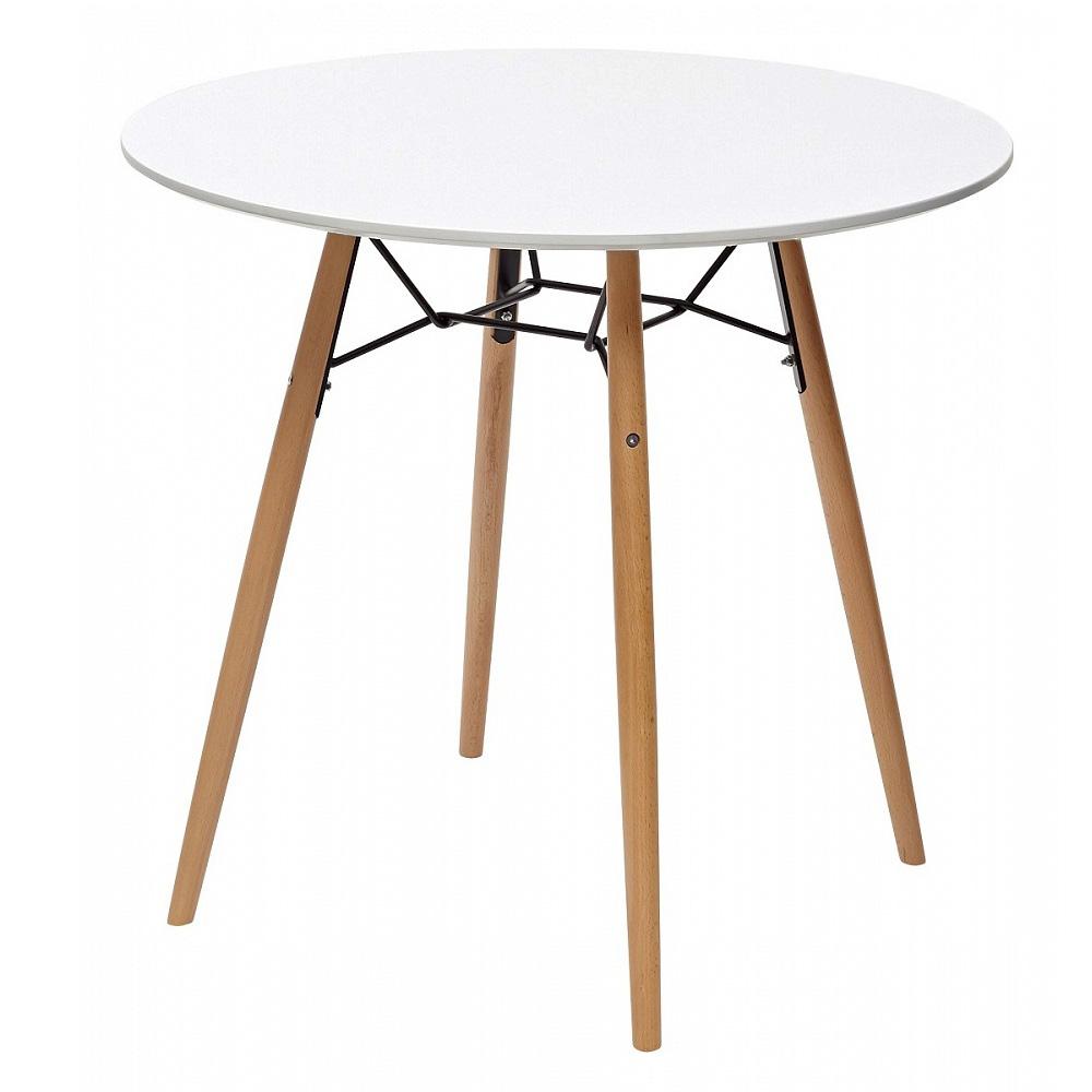 Стол кухонный белый ножки орех диаметр 80 и 90 см. (арт.  М4453)