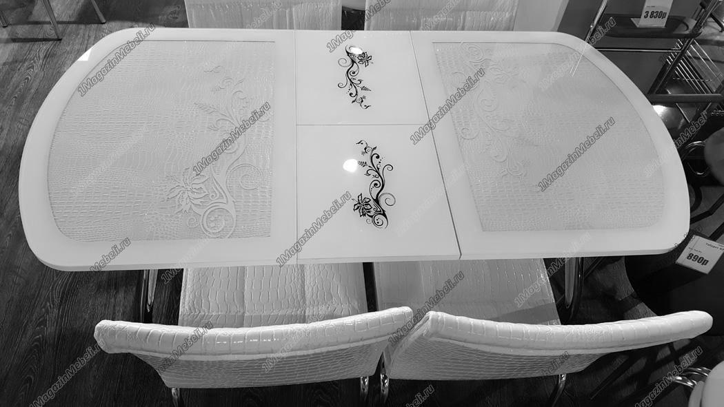 Стол белый крокодил стеклянный, кухонный, раздвижной, овальный (арт. М4264)