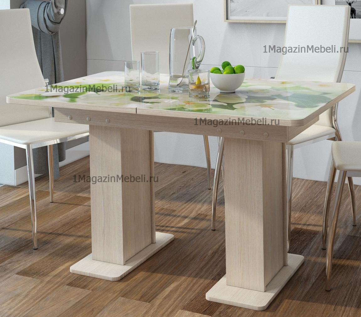 Стол стеклянный фотопечать, обеденный на двух ножках, раздвижной 120-155 см. (арт. М4324)