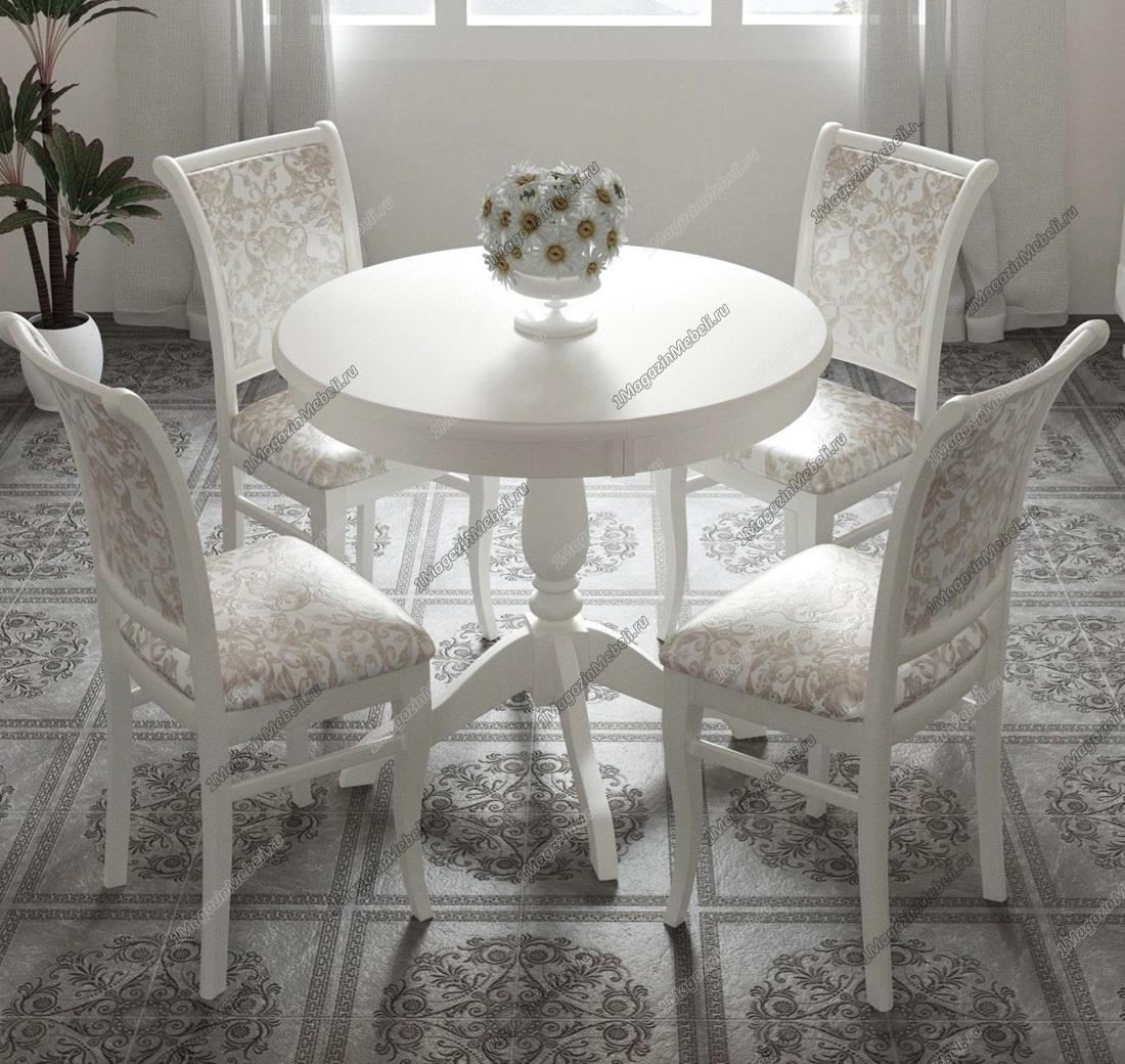 Стол белый обеденный круглый, 85 см., раздвижной (арт. М4244)