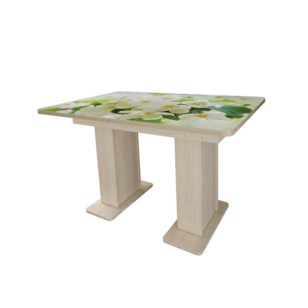 Обеденный стол на двух опорах, стеклянный, раздвижной (арт. М4492)