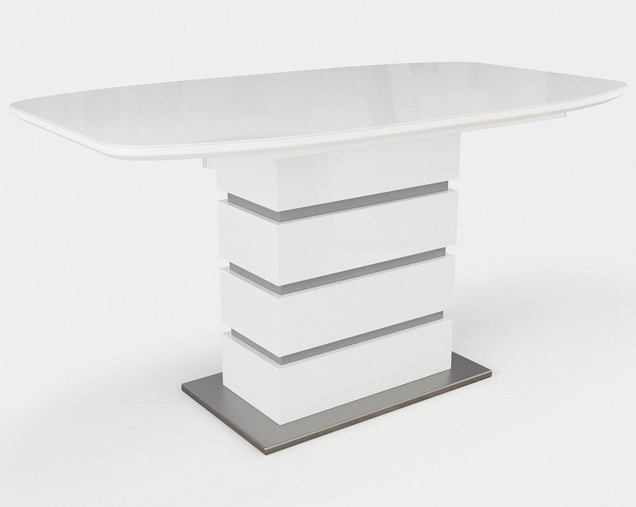 Стол Соло белый стеклянный, 140-180 см. на одной опоре (арт. М4382)