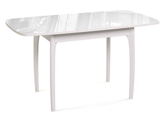 Белый стеклянный раздвижной обеденный стол №40 дн4 90х65см. (арт. М4363)
