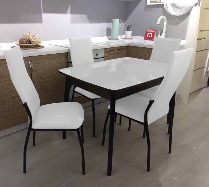 Стол стеклянный №40 ДН4 венге белый, раздвижной 90х65 см. (арт. М4361)