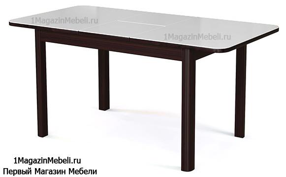 Стол обеденный стекло+дерево, венге стекло белое, раздвижной 120 см. (арт. М4349)
