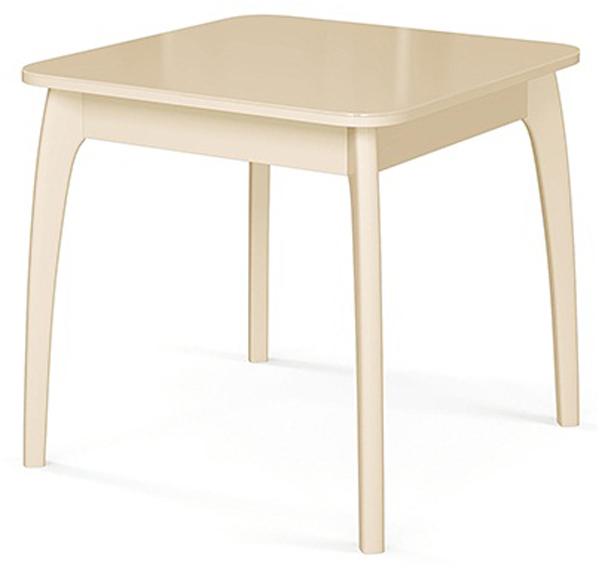 Обеденный стеклянный раздвижной стол, 80х80 см. слоновая кость стекло беж. (арт. М4351)