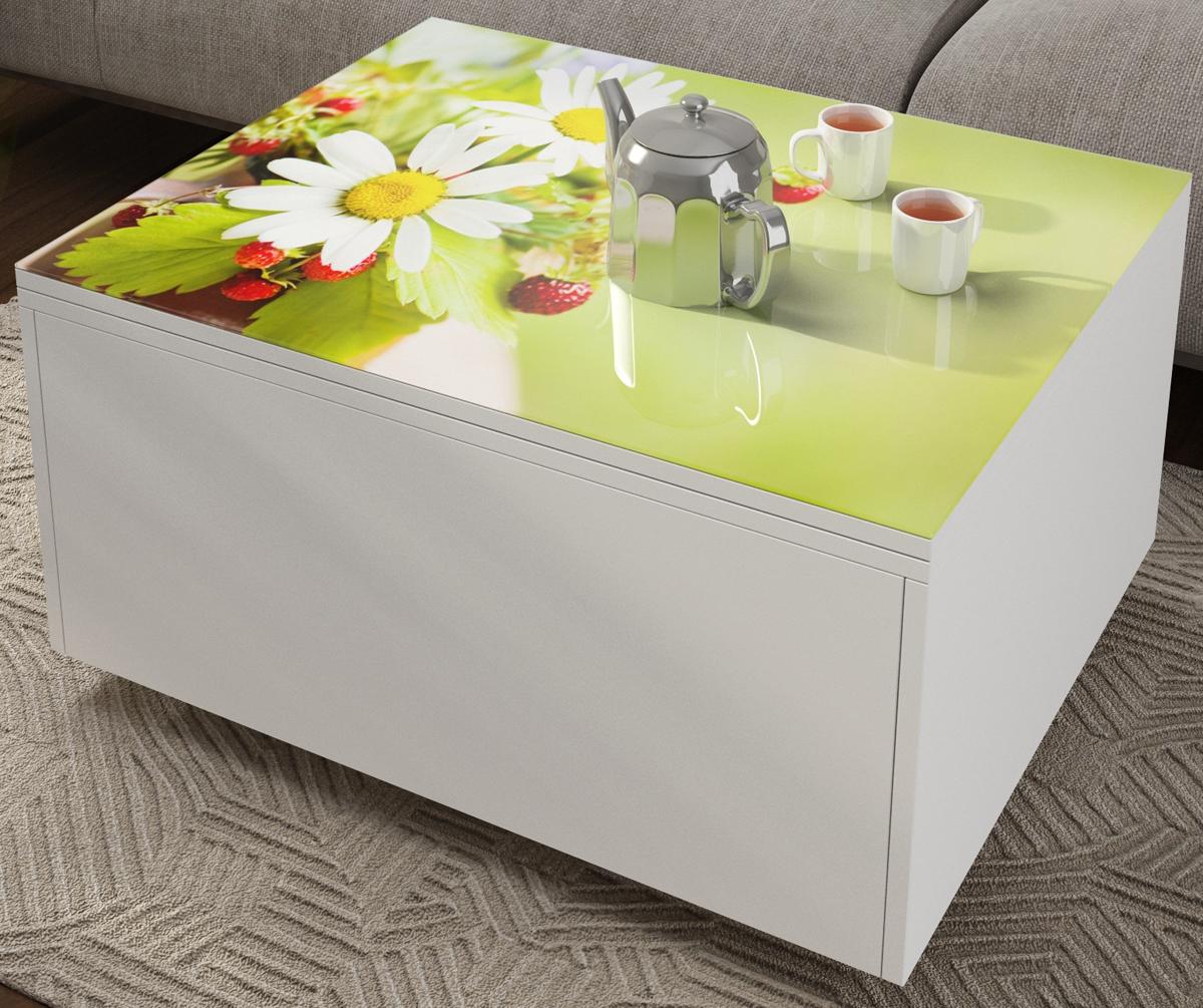 Стол обеденный журнальный с ящиком и фотопечатью трансформер (арт. М4325)