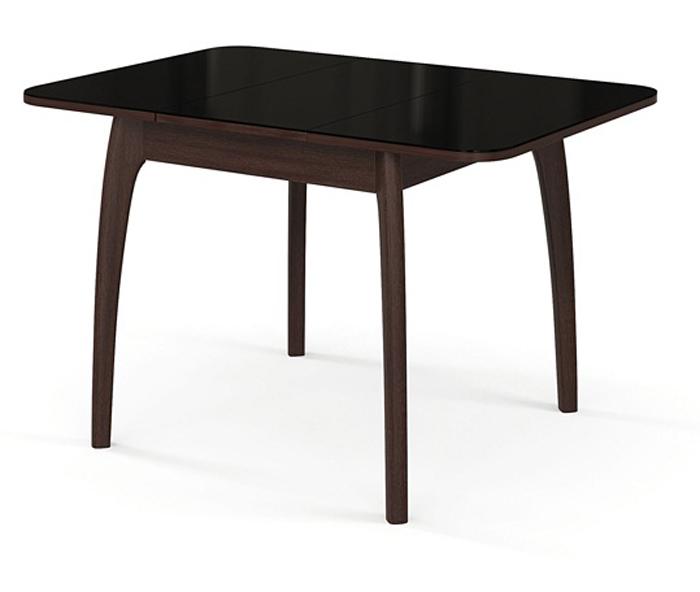 Стол 80 на 80 см. раздвижной дерево венге, стекло черное (арт. М4275)