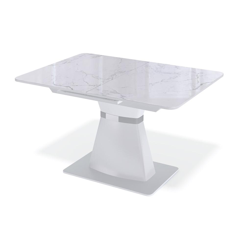 Обеденный стол под белый мрамор, стекло матовое (арт. М4505)