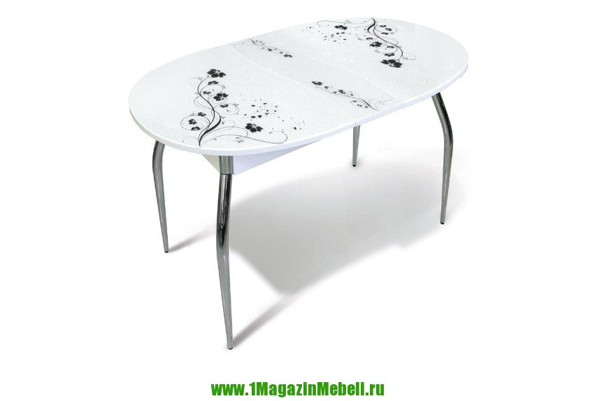 Стол белый стеклянный обеденный, раздвижной (арт. М4213)