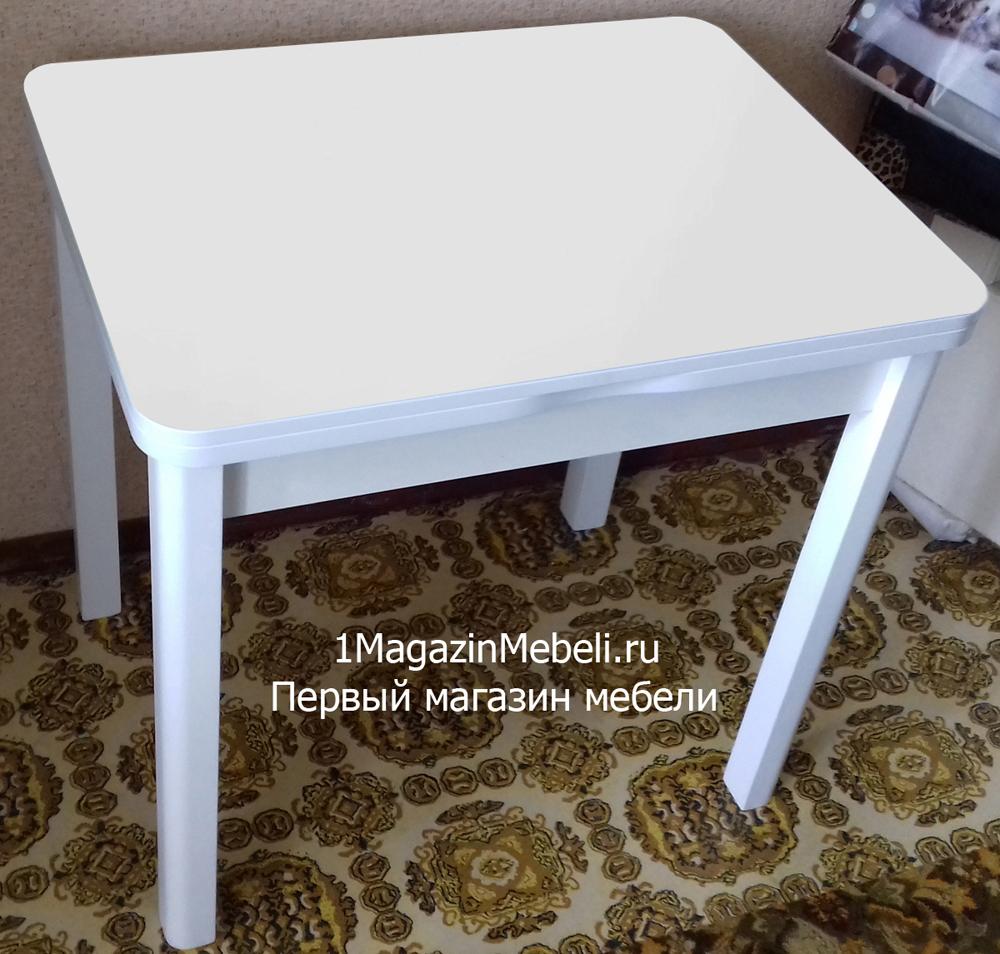 Маленький стол, раздвижной, стекло белое, ножки белые дерево 80х60 (арт. М4554)