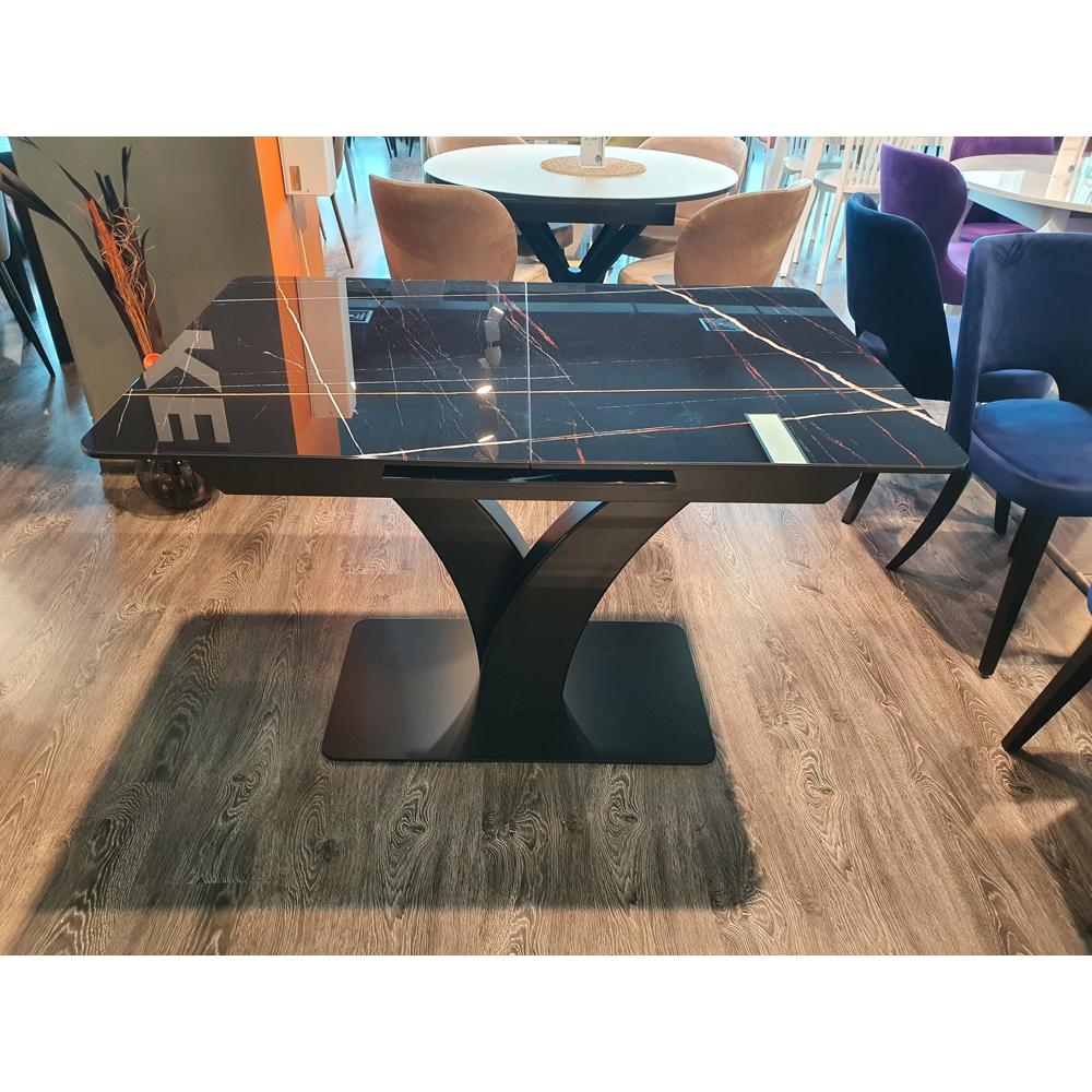 Современный стеклянный стол с интересной фигурной ножкой (арт. М4523)