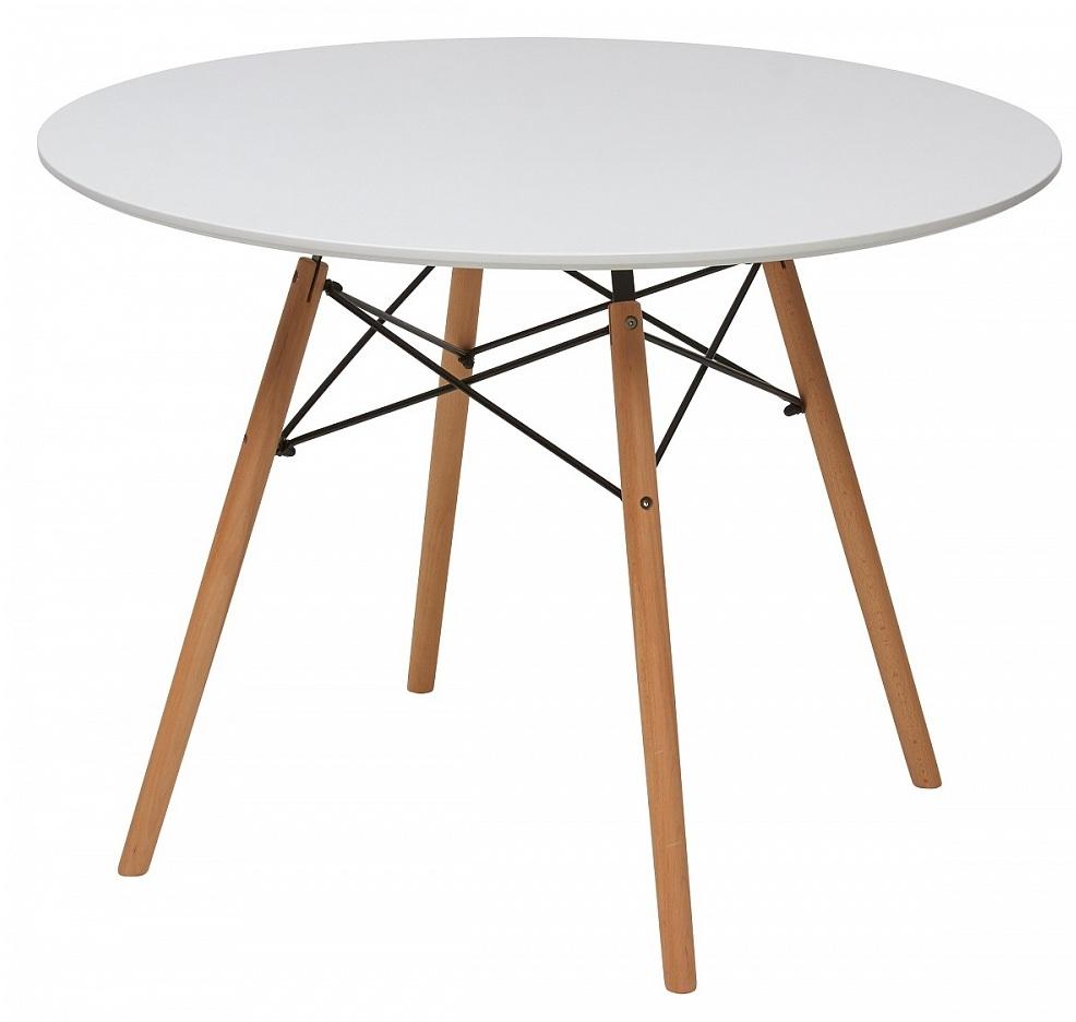 Круглый стол для кухни не раздвижной, белый, ножки орех 100 см. (арт. М4454)