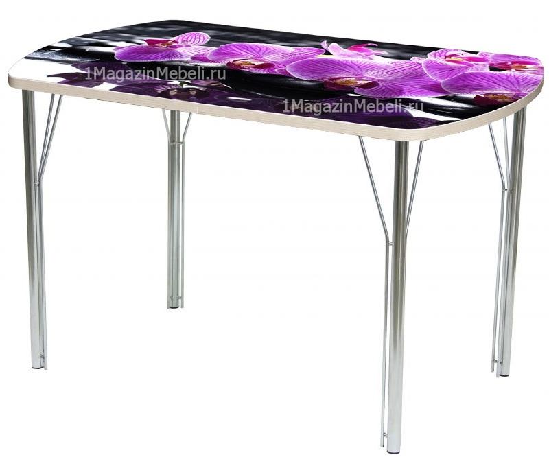 Овальный стеклянный кухонный стол, 110х70 фотопечать хром (арт. М4301)