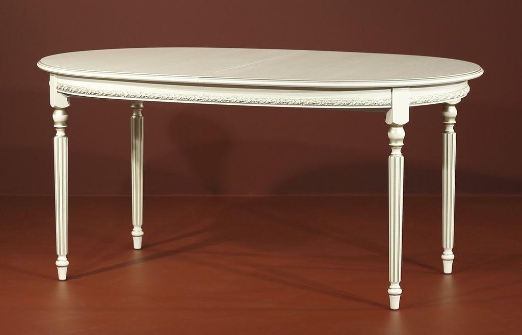 Классический овальный стол с декоративным кантом и резными ножками, золотая патина 160 см. (арт. М4346)