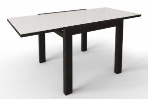 Стол раздвижной ножки венге стекло белое м4383