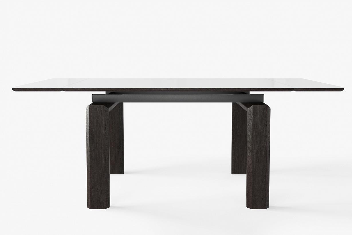 Большой стол 140-180 см с массивными ножками стеклянный  (арт. М4380)