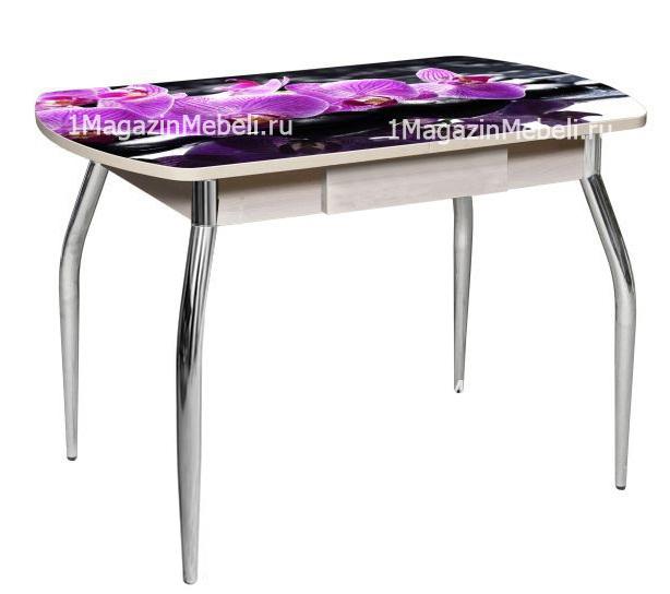 Стол с фотопечатью с ящиком 120х80 см. нераздвижной стеклянный (арт. М4391)