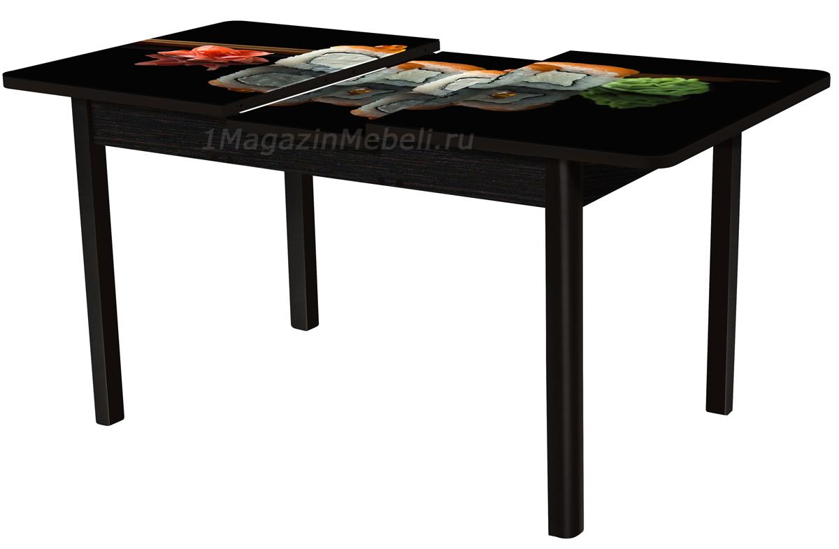 Стол с фотопечатью венге рисунок суши с микролифтом (арт. М4281)