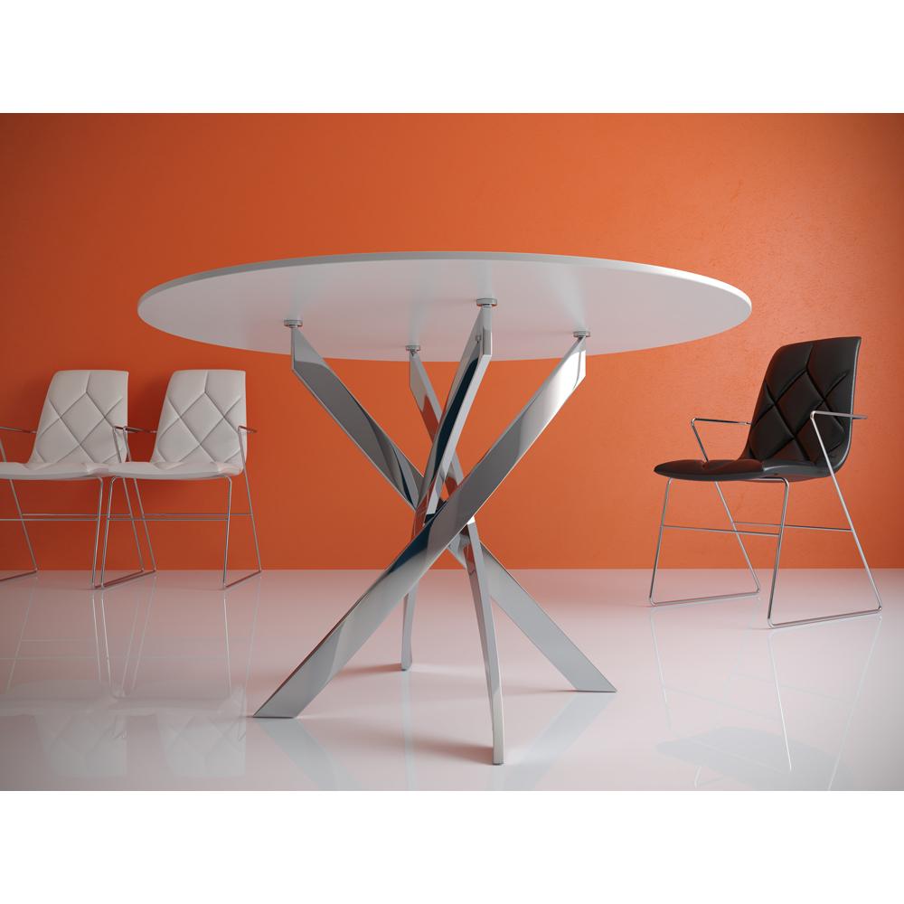Круглый стол с перекрестными ножками хром 100 см. (арт. М4508)