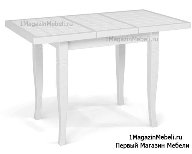 Маленький белый стол Италия 87L с керамической плиткой 87х56 см.(арт. М4356)