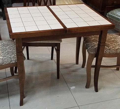Небольшой стол с керамической плиткой, Италия 87L цвет дуб, 87х56 см. (арт. М4355)