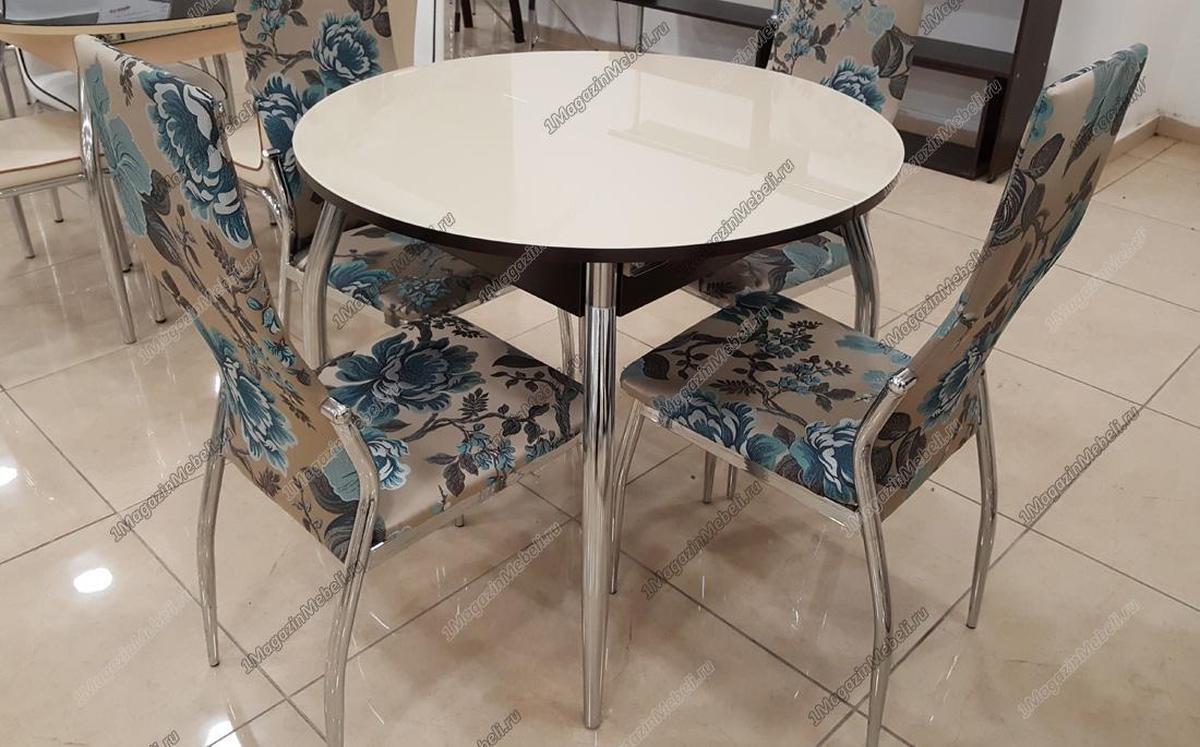 Стол Гала-3 венге, песочное стекло, круглый 90-122 см. (арт. М4144)