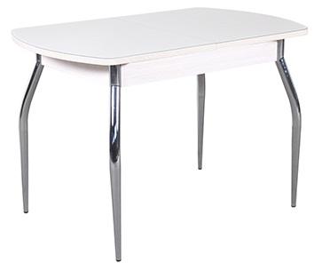 Белый стеклянный глянцевый стол, раздвижной, овальный 110 и 120 см. (арт. М4232)