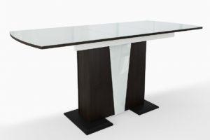 Стол стеклянный обеденный венге белое стекло на одной опоре м4446